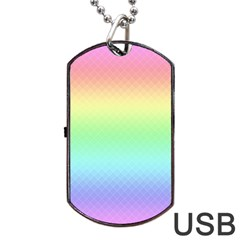 Pastel Rainbow Diamond Pattern Dog Tag Usb Flash (two Sides) by SpinnyChairDesigns