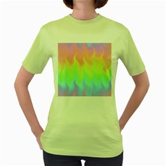 Pastel Rainbow Flame Ombre Women s Green T-shirt by SpinnyChairDesigns