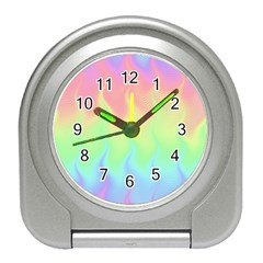 Pastel Rainbow Flame Ombre Travel Alarm Clock by SpinnyChairDesigns
