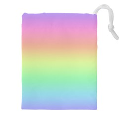 Pastel Rainbow Ombre Drawstring Pouch (4xl) by SpinnyChairDesigns