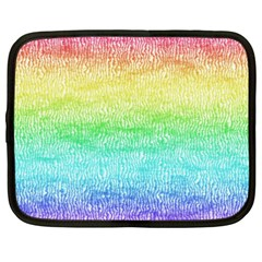 Rainbow Ombre Texture Netbook Case (xxl) by SpinnyChairDesigns