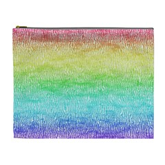 Rainbow Ombre Texture Cosmetic Bag (xl) by SpinnyChairDesigns