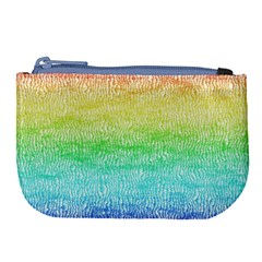 Rainbow Ombre Texture Large Coin Purse by SpinnyChairDesigns