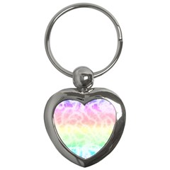 Pastel Rainbow Tie Dye Key Chain (heart) by SpinnyChairDesigns