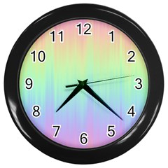 Pastel Rainbow Gradient Wall Clock (black) by SpinnyChairDesigns