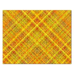 Orange Madras Plaid Rectangular Jigsaw Puzzl by SpinnyChairDesigns