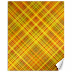 Orange Madras Plaid Canvas 11  X 14  by SpinnyChairDesigns