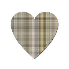 Beige Tan Madras Plaid Heart Magnet by SpinnyChairDesigns