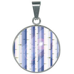 Birch Tree Forest Digital 25mm Round Necklace by Mariart