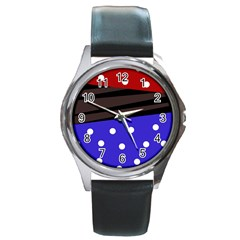Mixed-lines-dots Black-bg Round Metal Watch