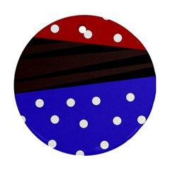 Mixed Polka Dots And Lines Pattern, Blue, Red, Brown Ornament (round)