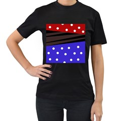 Mixed Polka Dots And Lines Pattern, Blue, Red, Brown Women s T-shirt (black) (two Sided)
