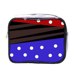 Mixed Polka Dots And Lines Pattern, Blue, Red, Brown Mini Toiletries Bag (one Side)