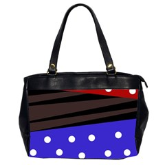 Mixed Polka Dots And Lines Pattern, Blue, Red, Brown Oversize Office Handbag (2 Sides)