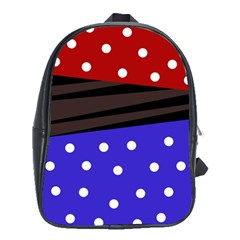Mixed Polka Dots And Lines Pattern, Blue, Red, Brown School Bag (xl)