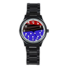 Mixed Polka Dots And Lines Pattern, Blue, Red, Brown Stainless Steel Round Watch