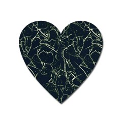 Neon Silhouette Leaves Print Pattern Heart Magnet by dflcprintsclothing