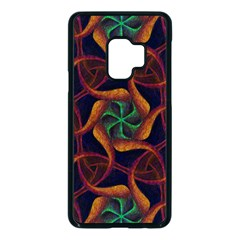 Trippy Teal & Orange Mandala Pattern  Samsung Galaxy S9 Seamless Case(black)