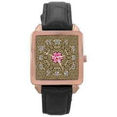Earth Can Be A Beautiful Flower In The Universe Rose Gold Leather Watch  by pepitasart