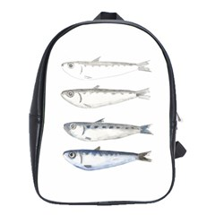 Pencil Fish Sardine Drawing School Bag (large)