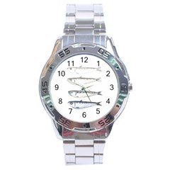 Pencil Fish Sardine Drawing Stainless Steel Analogue Watch