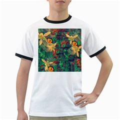 Illustrations Color Cat Flower Abstract Textures Orange Ringer T by Alisyart