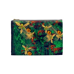 Illustrations Color Cat Flower Abstract Textures Orange Cosmetic Bag (medium) by Alisyart