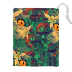 Illustrations Color Cat Flower Abstract Textures Orange Drawstring Pouch (5xl) by Alisyart