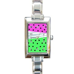 Dots And Lines, Mixed Shapes Pattern, Colorful Abstract Design Rectangle Italian Charm Watch by Casemiro