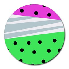 Dots And Lines, Mixed Shapes Pattern, Colorful Abstract Design Round Mousepads by Casemiro