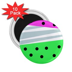 Dots And Lines, Mixed Shapes Pattern, Colorful Abstract Design 2 25  Magnets (10 Pack)  by Casemiro