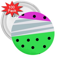 Dots And Lines, Mixed Shapes Pattern, Colorful Abstract Design 3  Buttons (100 Pack)  by Casemiro