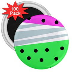 Dots And Lines, Mixed Shapes Pattern, Colorful Abstract Design 3  Magnets (100 Pack) by Casemiro
