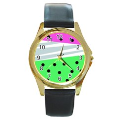 Dots And Lines, Mixed Shapes Pattern, Colorful Abstract Design Round Gold Metal Watch by Casemiro