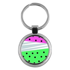 Dots And Lines, Mixed Shapes Pattern, Colorful Abstract Design Key Chain (round) by Casemiro