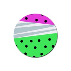 Dots And Lines, Mixed Shapes Pattern, Colorful Abstract Design Rubber Round Coaster (4 Pack)  by Casemiro