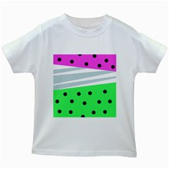 Dots And Lines, Mixed Shapes Pattern, Colorful Abstract Design Kids White T-shirts by Casemiro