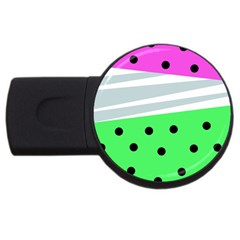 Dots And Lines, Mixed Shapes Pattern, Colorful Abstract Design Usb Flash Drive Round (2 Gb) by Casemiro