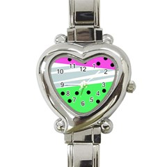 Dots And Lines, Mixed Shapes Pattern, Colorful Abstract Design Heart Italian Charm Watch by Casemiro