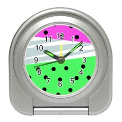 Dots And Lines, Mixed Shapes Pattern, Colorful Abstract Design Travel Alarm Clock by Casemiro