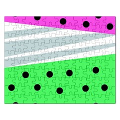 Dots And Lines, Mixed Shapes Pattern, Colorful Abstract Design Rectangular Jigsaw Puzzl by Casemiro