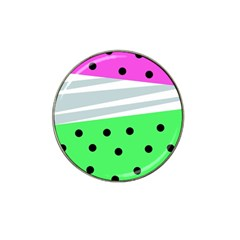 Dots And Lines, Mixed Shapes Pattern, Colorful Abstract Design Hat Clip Ball Marker (4 Pack) by Casemiro
