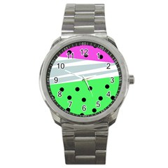 Dots And Lines, Mixed Shapes Pattern, Colorful Abstract Design Sport Metal Watch by Casemiro