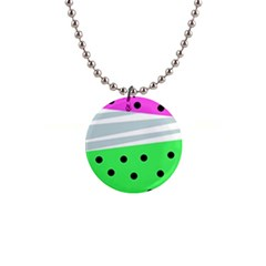 Dots And Lines, Mixed Shapes Pattern, Colorful Abstract Design 1  Button Necklace by Casemiro