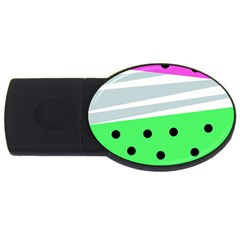 Dots And Lines, Mixed Shapes Pattern, Colorful Abstract Design Usb Flash Drive Oval (4 Gb) by Casemiro