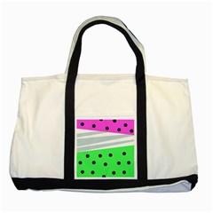 Dots And Lines, Mixed Shapes Pattern, Colorful Abstract Design Two Tone Tote Bag by Casemiro
