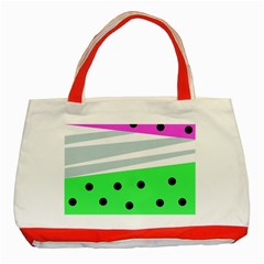 Dots And Lines, Mixed Shapes Pattern, Colorful Abstract Design Classic Tote Bag (red) by Casemiro
