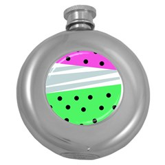 Dots And Lines, Mixed Shapes Pattern, Colorful Abstract Design Round Hip Flask (5 Oz) by Casemiro