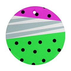 Dots And Lines, Mixed Shapes Pattern, Colorful Abstract Design Round Ornament (two Sides) by Casemiro