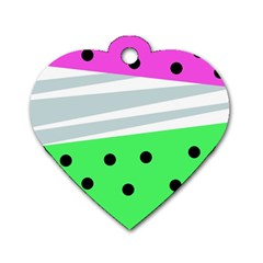 Dots And Lines, Mixed Shapes Pattern, Colorful Abstract Design Dog Tag Heart (one Side) by Casemiro